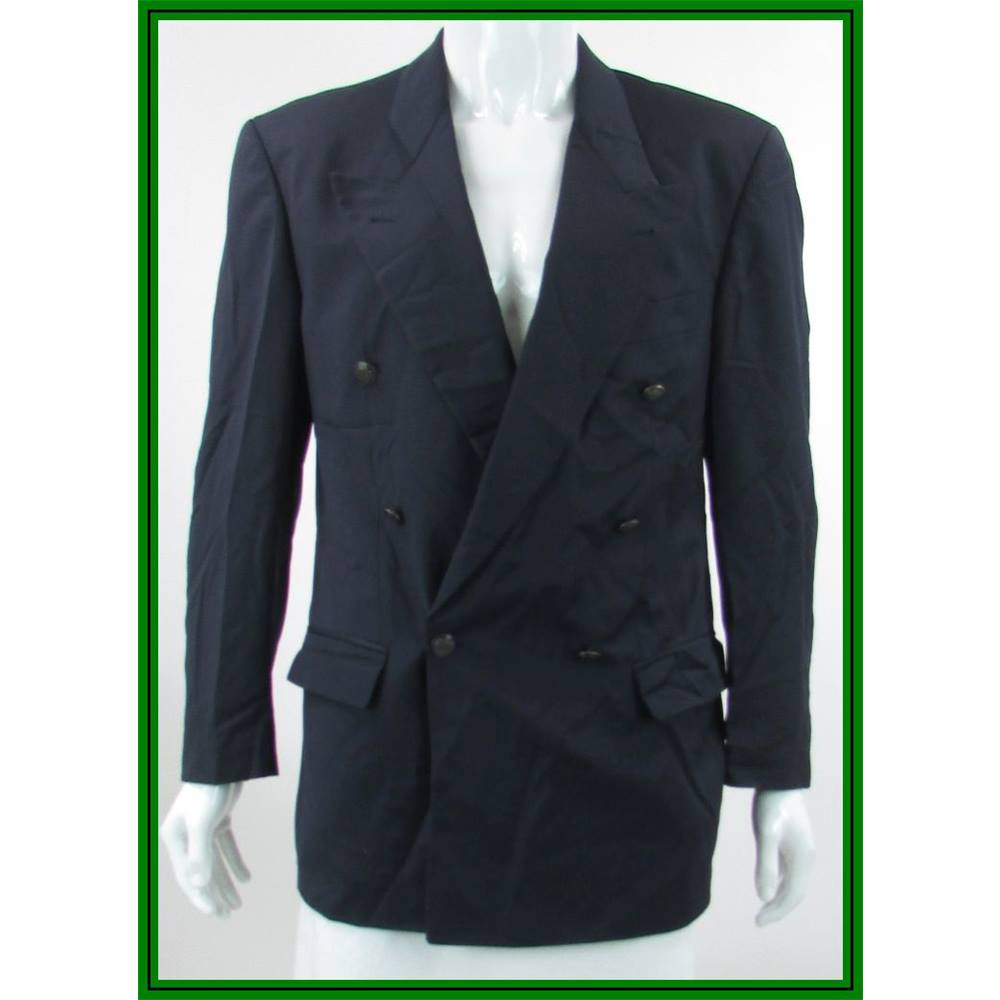 879f78396e24 Boss Hugo Boss - Size  40R - Navy Blue - 100% Virgin Wool - Double breasted  suit jacket