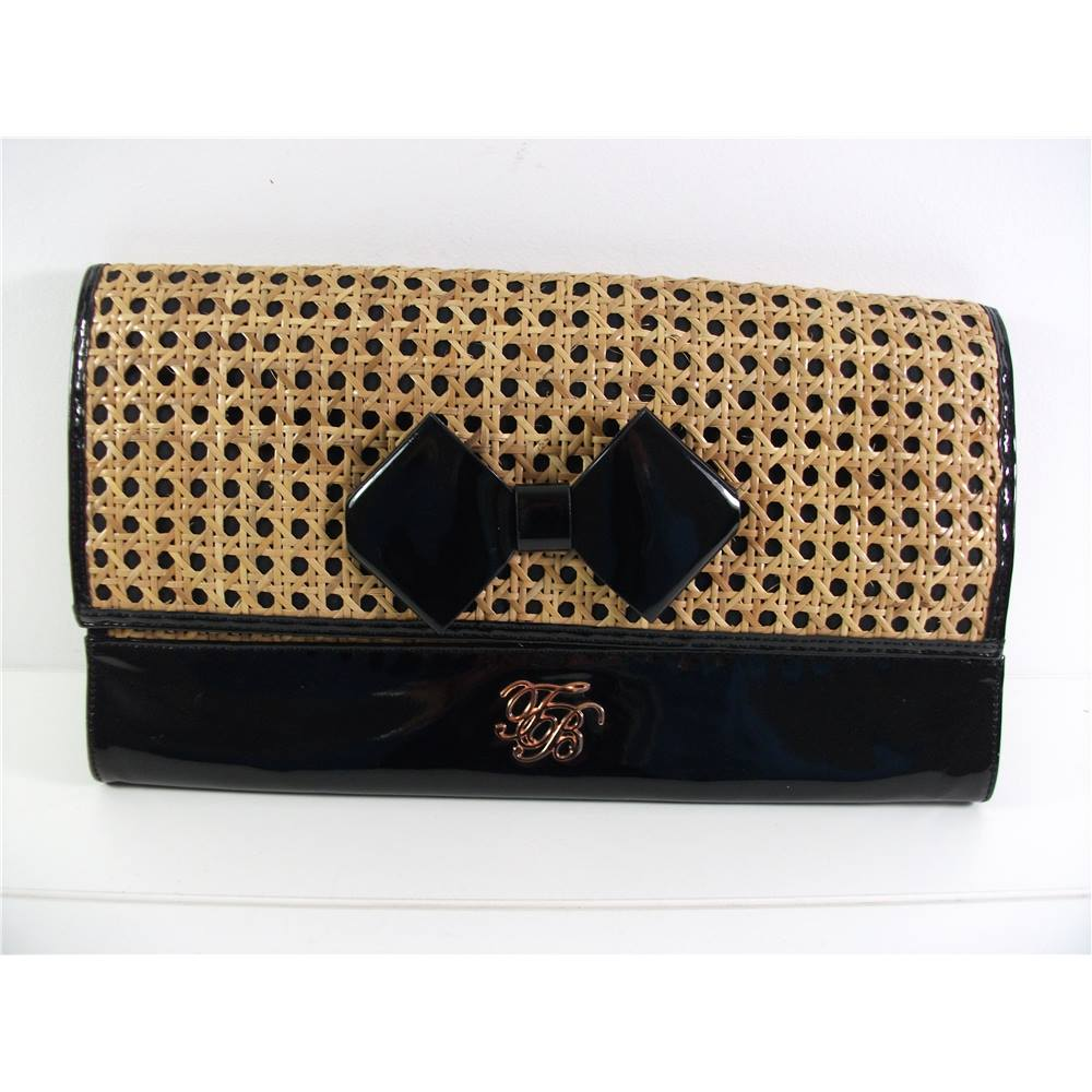 b65d138a1 Ted Baker Galar straw   patent bow clutch bag