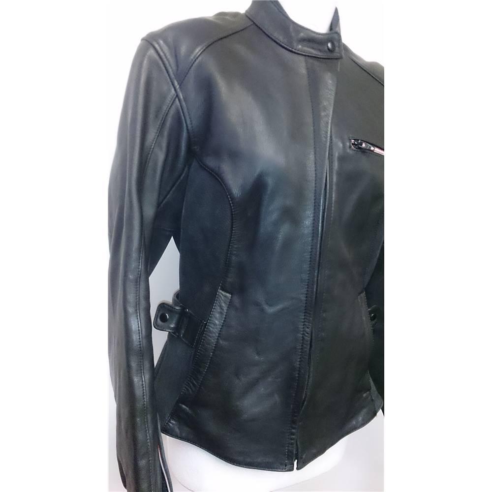 hein gericke size 12 black motorcycle leather jacket. Black Bedroom Furniture Sets. Home Design Ideas