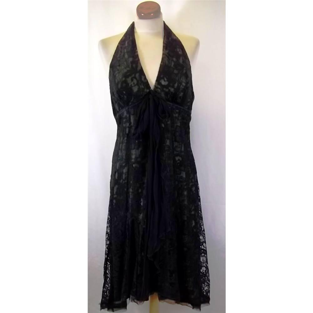 1864d80b827c John Lewis Citrine - Size: 16 - Black - Vintage Halter-neck dress ...