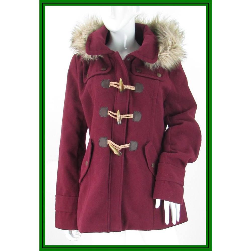 325c766b3 Kangol - Size: 16 - Burgundy - Duffle Coat With Faux Fur Trimmed Hood |  Oxfam GB | Oxfam's Online Shop