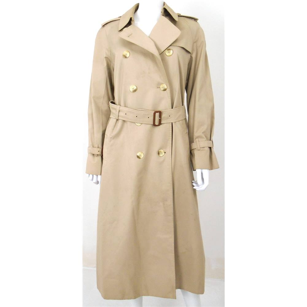 8e4bc85b1571 Vintage Burberry Size 12 Beige Double Breasted Trench Coat ...