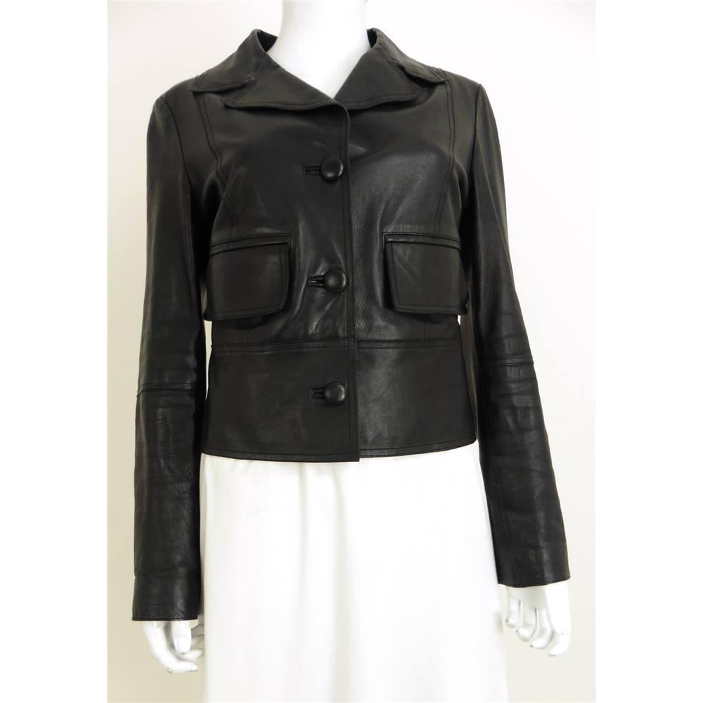 b7d428100866 Conbipel Size 12 Black Leather Button Up Jacket