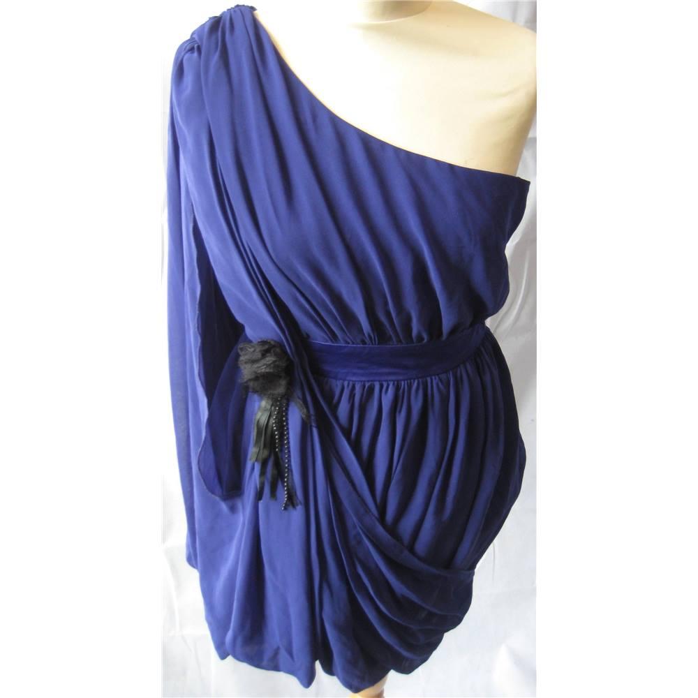 Lipsy grecian draped one sleeved purple dress size 10 Lipsy - Size ...