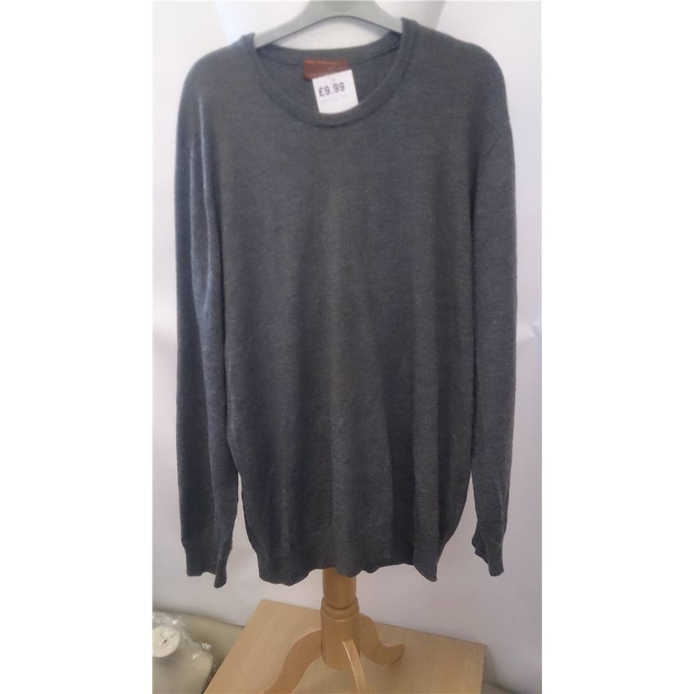 Extra Fine Merino Wool Mens Grey Jumper Xl Marks And Spencer Ms