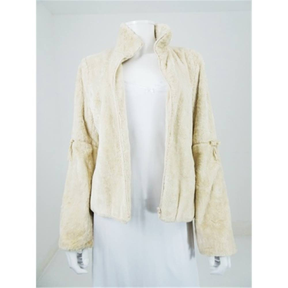 Jesire Size 10 Cream Faux Fur Jacket  b721dc342