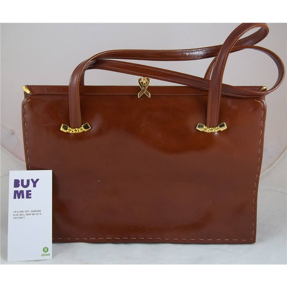 Ackery London Tan Leather Bag Size M Brown Handbag Loading Zoom