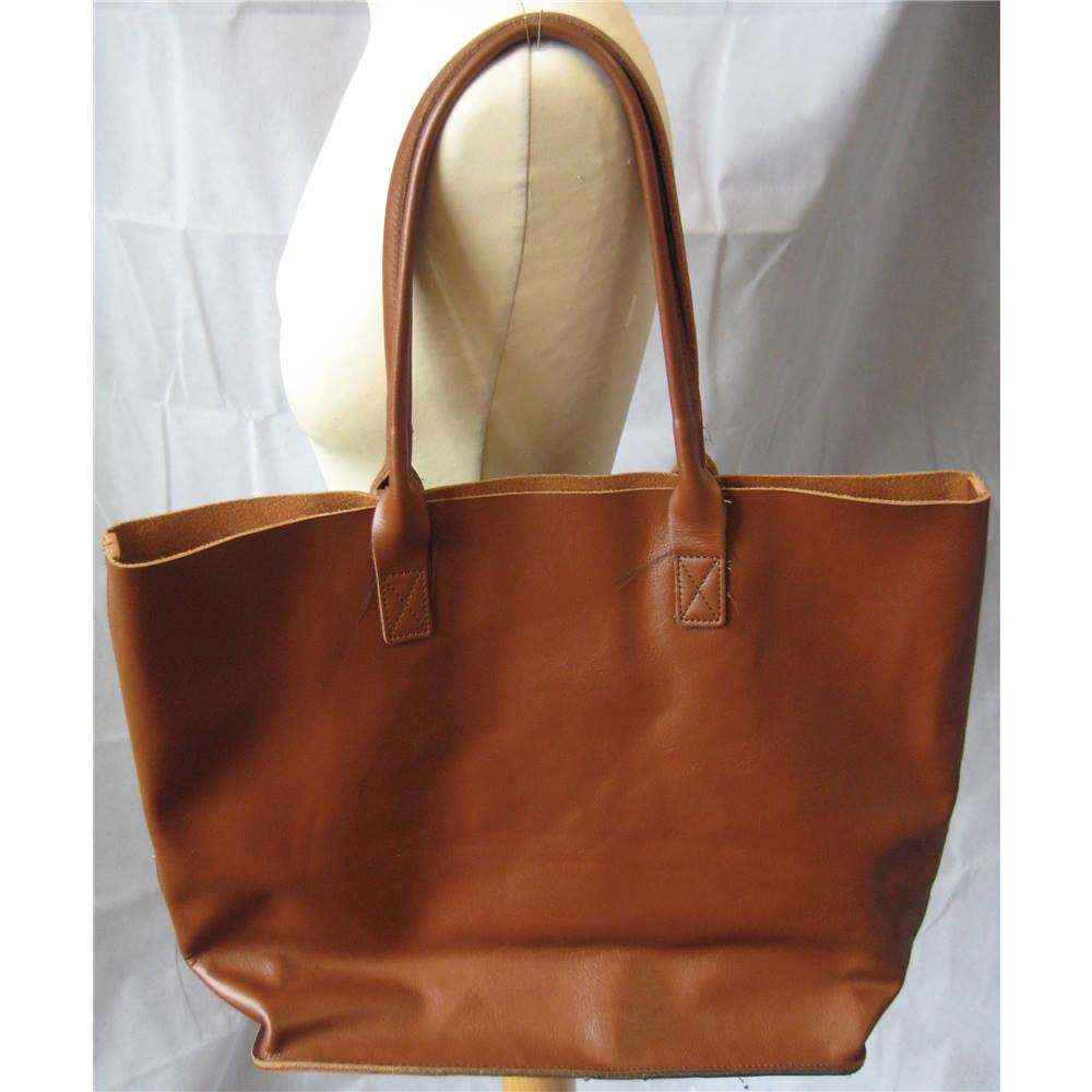Addison Road Large Tan Leather Tote Bag Size One Brown Loading Zoom