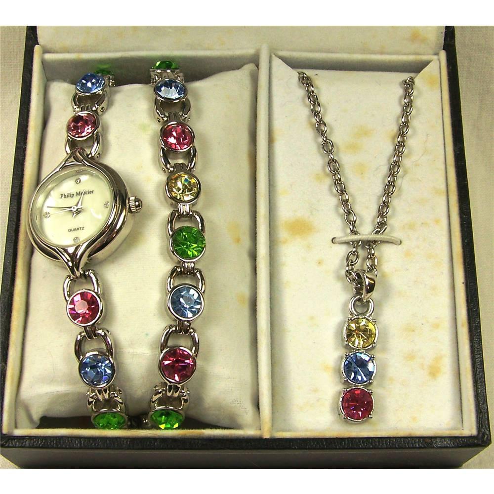 8e0976fdc Philip Mercier Ladies matching watch, bracelet and necklace set. Boxed.