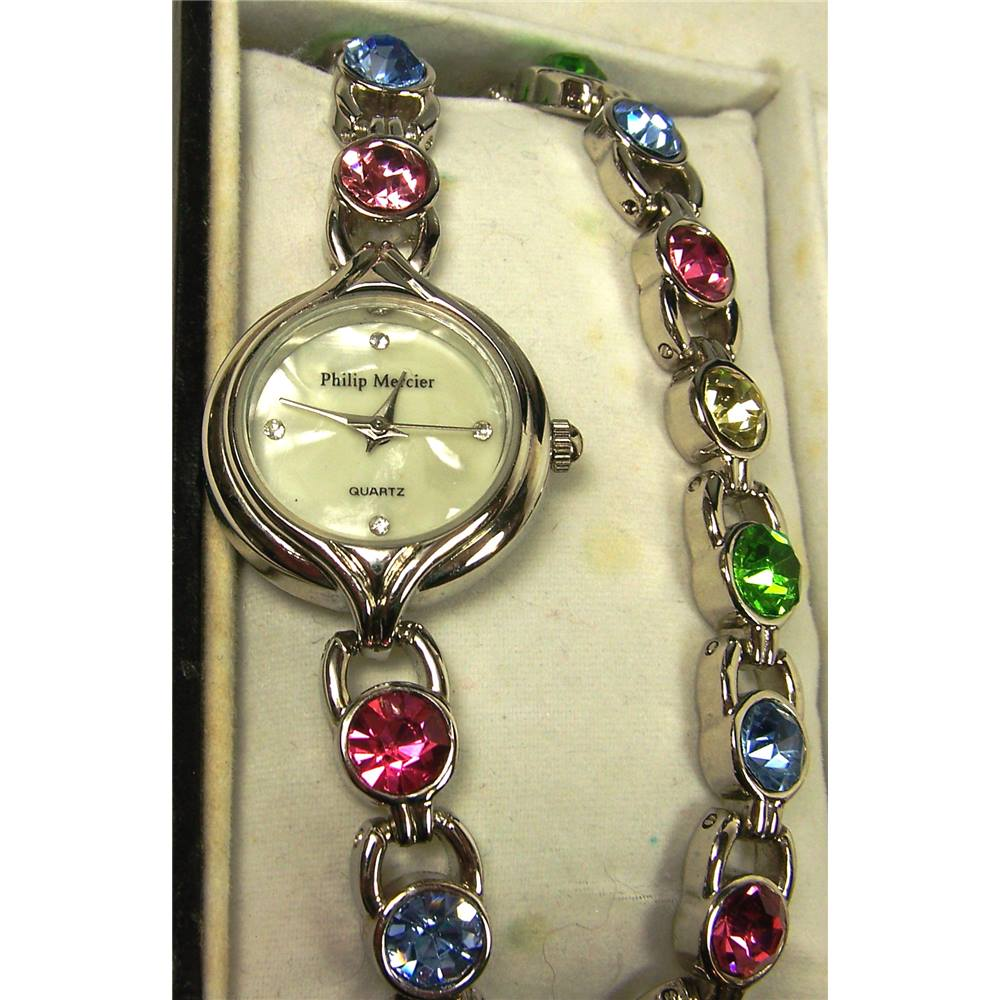 5587f37fb Rollover to zoom. Philip Mercier Ladies matching watch, bracelet and necklace  set.