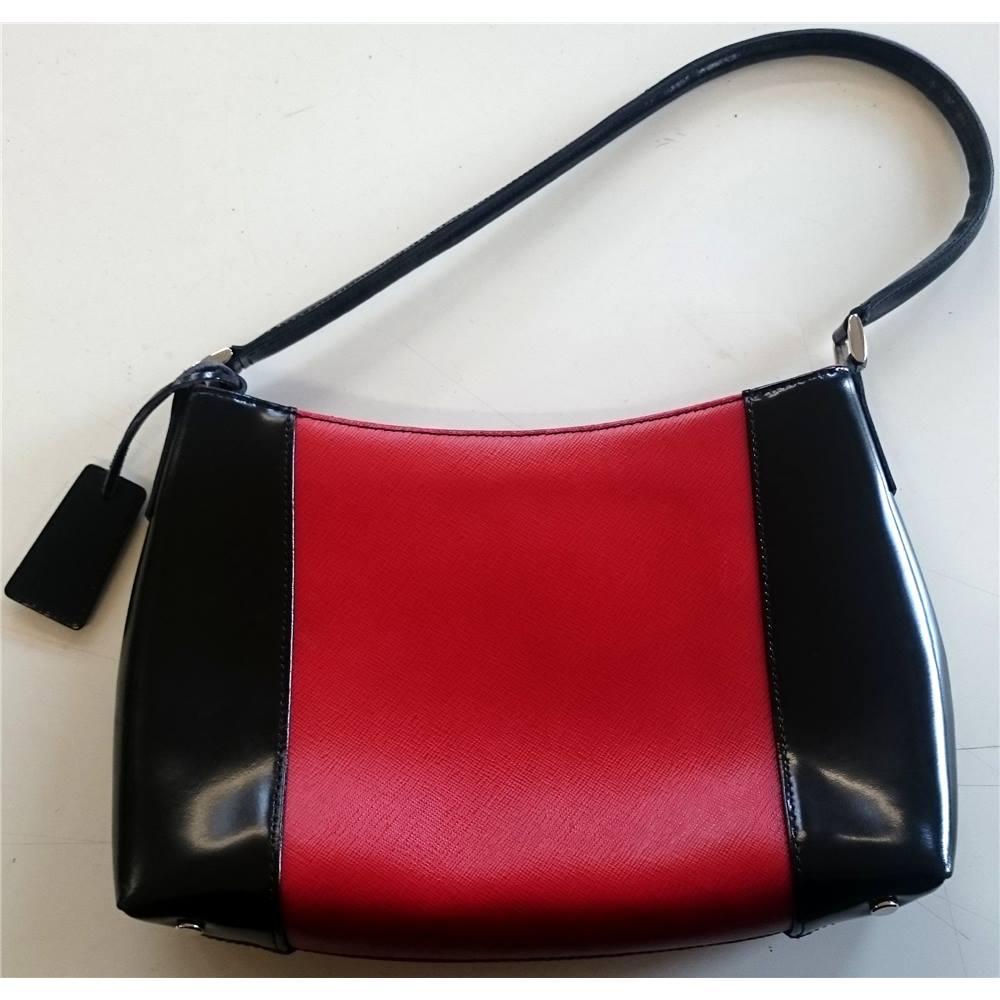 J by Jasper Conran Red and Black Leather handbag Debenhams ... 9e036e4d7527f