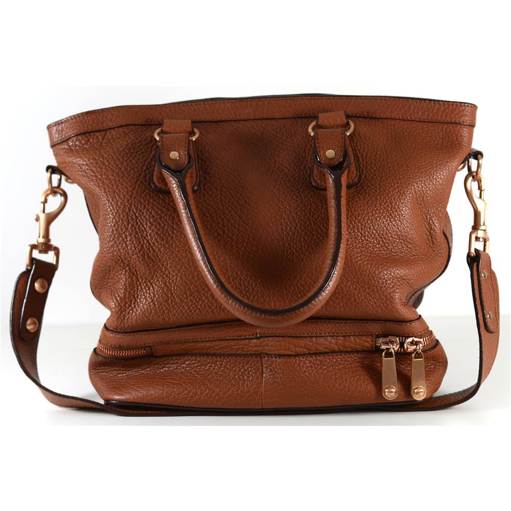 Jaeger Tan Leather Tote Bag Loading Zoom