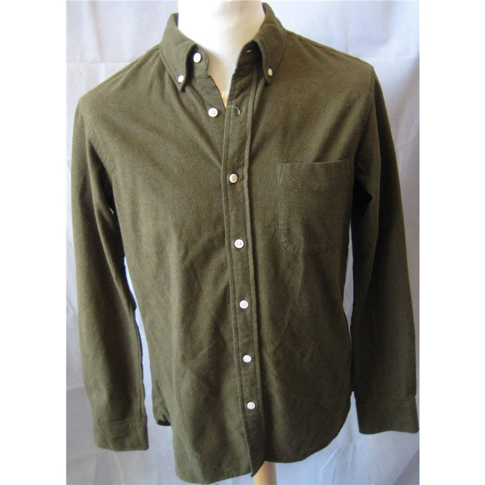 MUJI khaki green thick 100% cotton shirt size S BNWT Muji - Size  S.  Loading zoom 51aea0ed6b72a