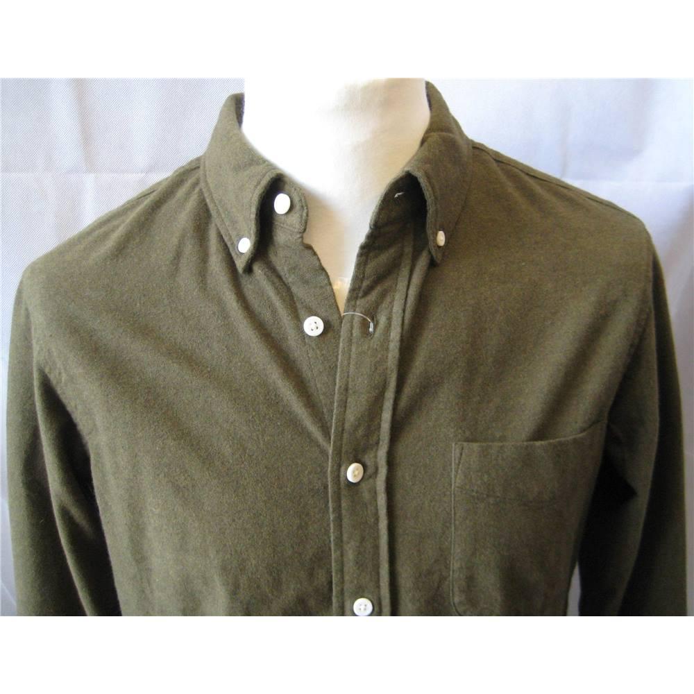 MUJI khaki green thick 100% cotton shirt size S BNWT Muji - Size  S ... ea86354fb0ce4