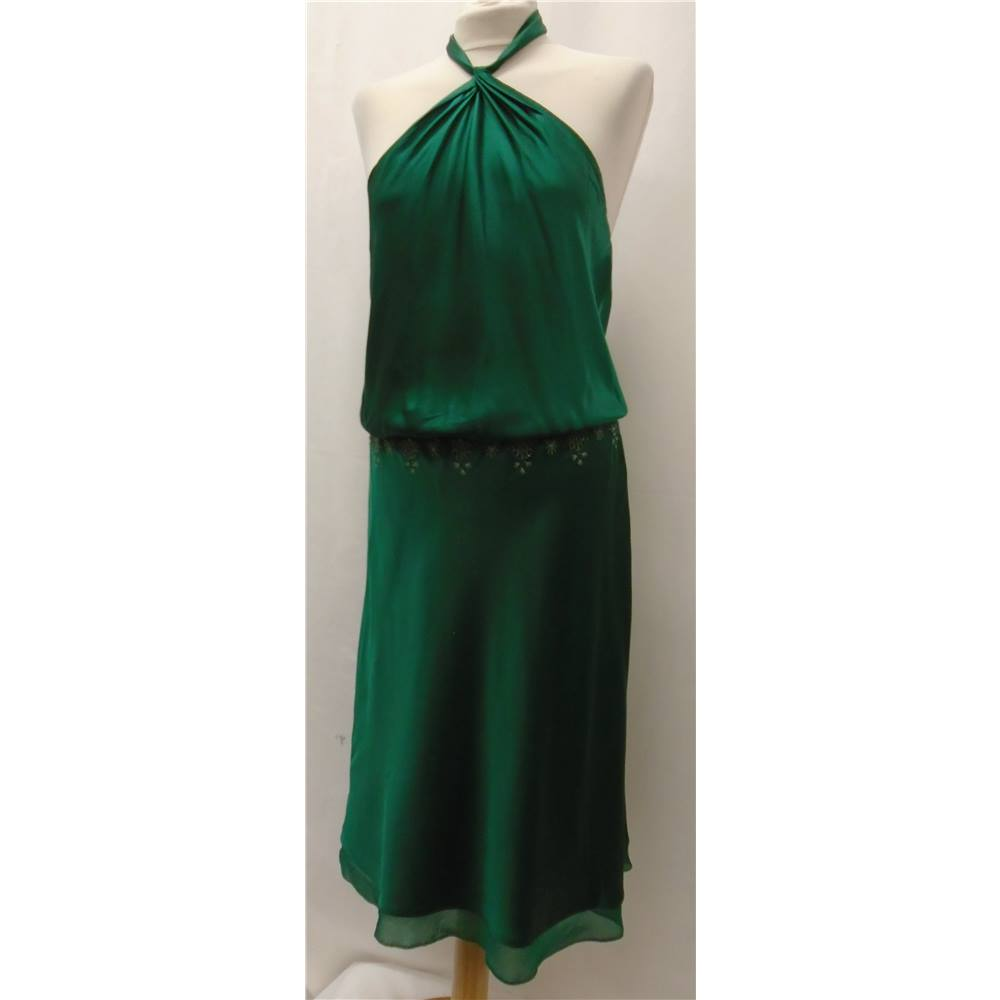 BCBG Max Azria - Size: 10 - Green - Dress / gown- 100%Silk | Oxfam ...