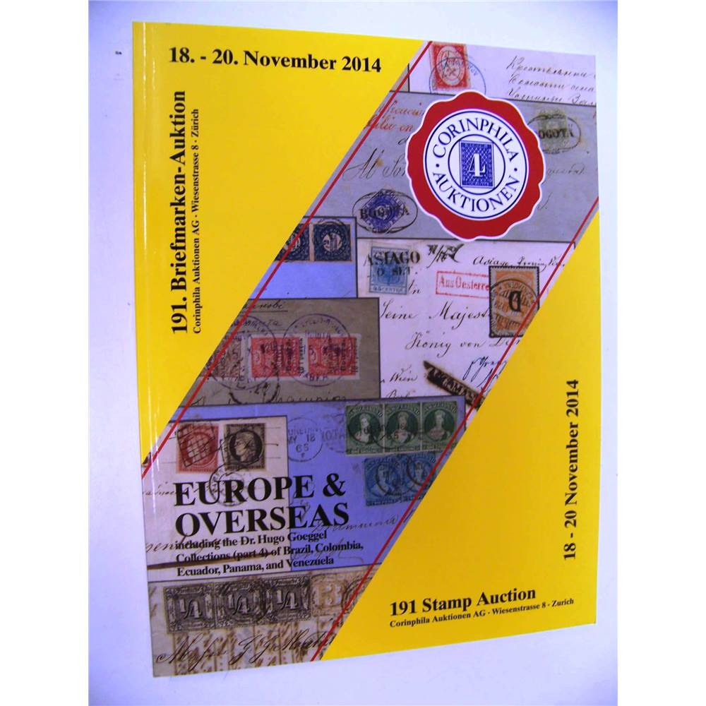 191 Stamp Auction Catalogue Corinphila, Europe & Overseas 2014 For Sale in  Truro, London | Preloved