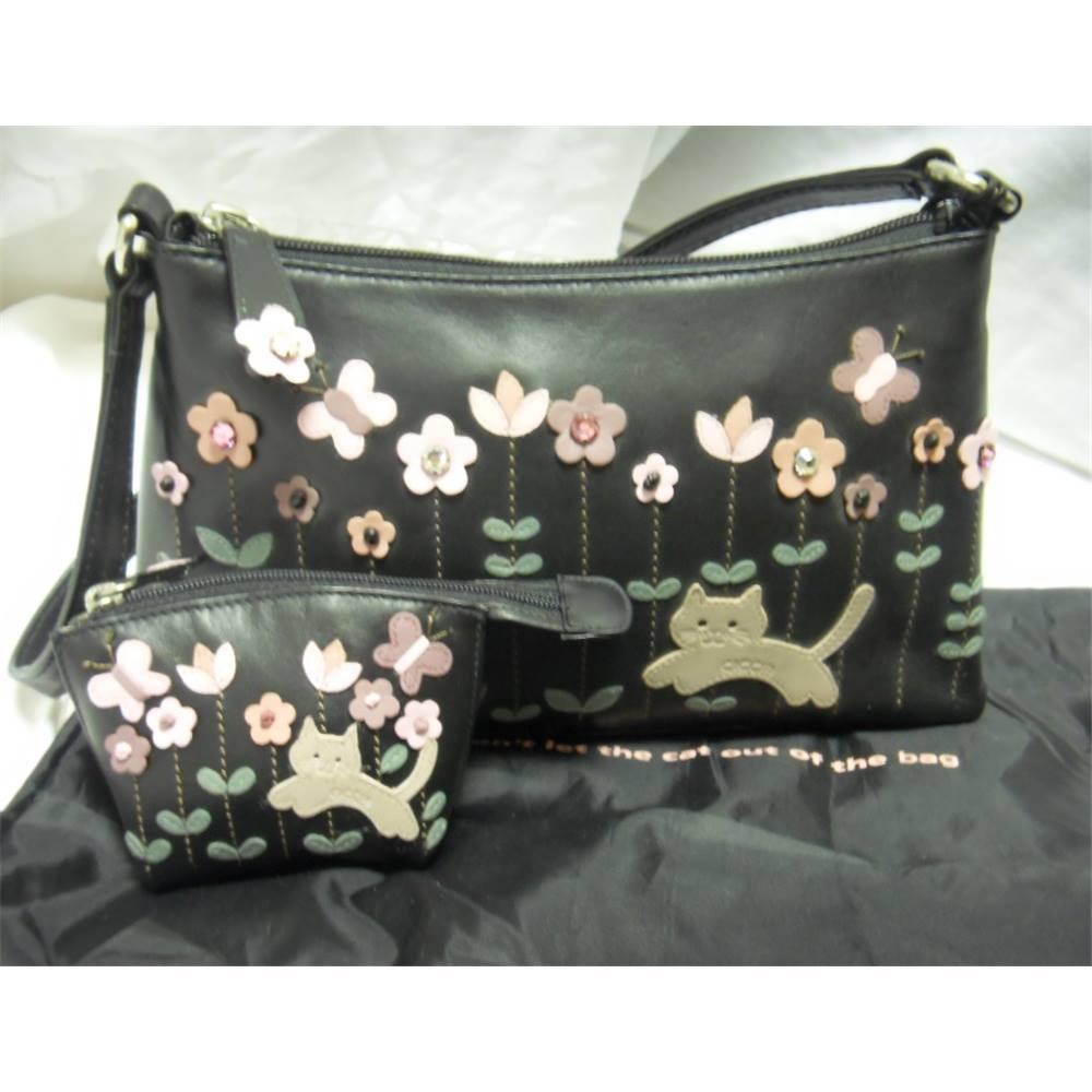 Ciccia Cat Handbag And Purse Set Size S Black Loading Zoom