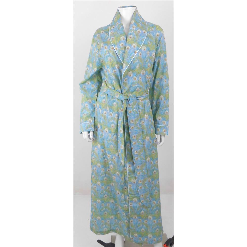 8a7c4730f56 Liberty Size L Green and Blue Peacock Feather Print Dressing Gown ...