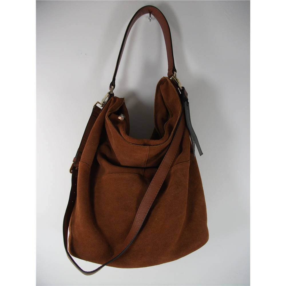 New Marks Spencer Autograph Tan Suede Soft Slouch Bucket Bag Loading Zoom