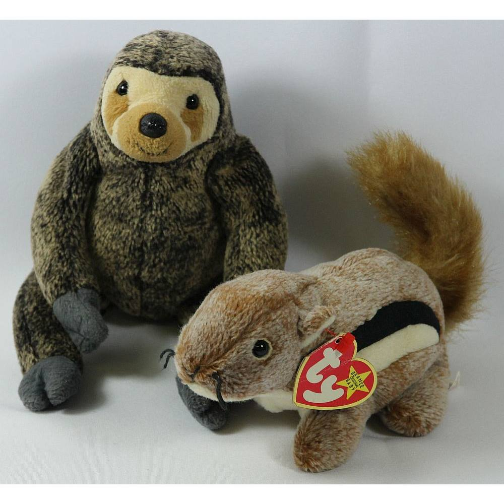 8aa7e7d4428 Beanie Babies Bundle  Chipper and Chipmunk and Slowpoke the Sloth TY ...