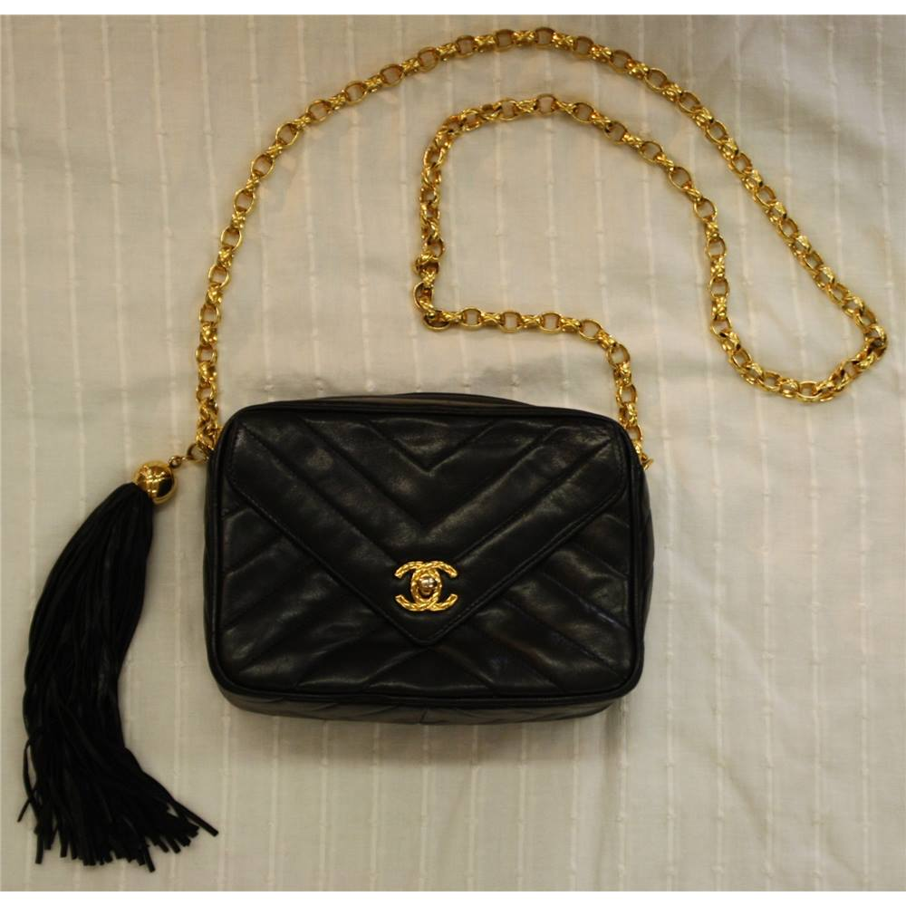 42bd77a6d24 Chanel Black Leather Chevron Tassel Chain Strap Shoulder Handbag Small  Vintage