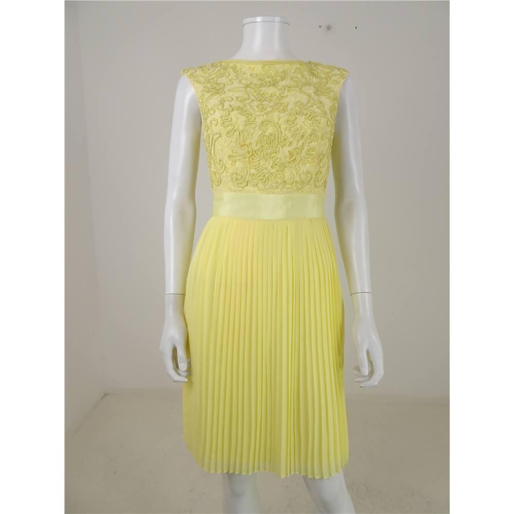 Ted Baker Size 6 Lemon Yellow Aliana Dress Loading Zoom