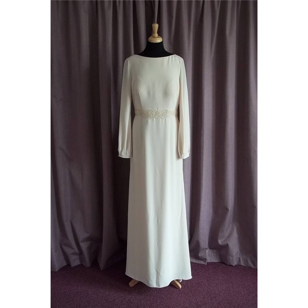Biba cream long sleeve wedding dress size 16 brand new for Places to donate wedding dresses
