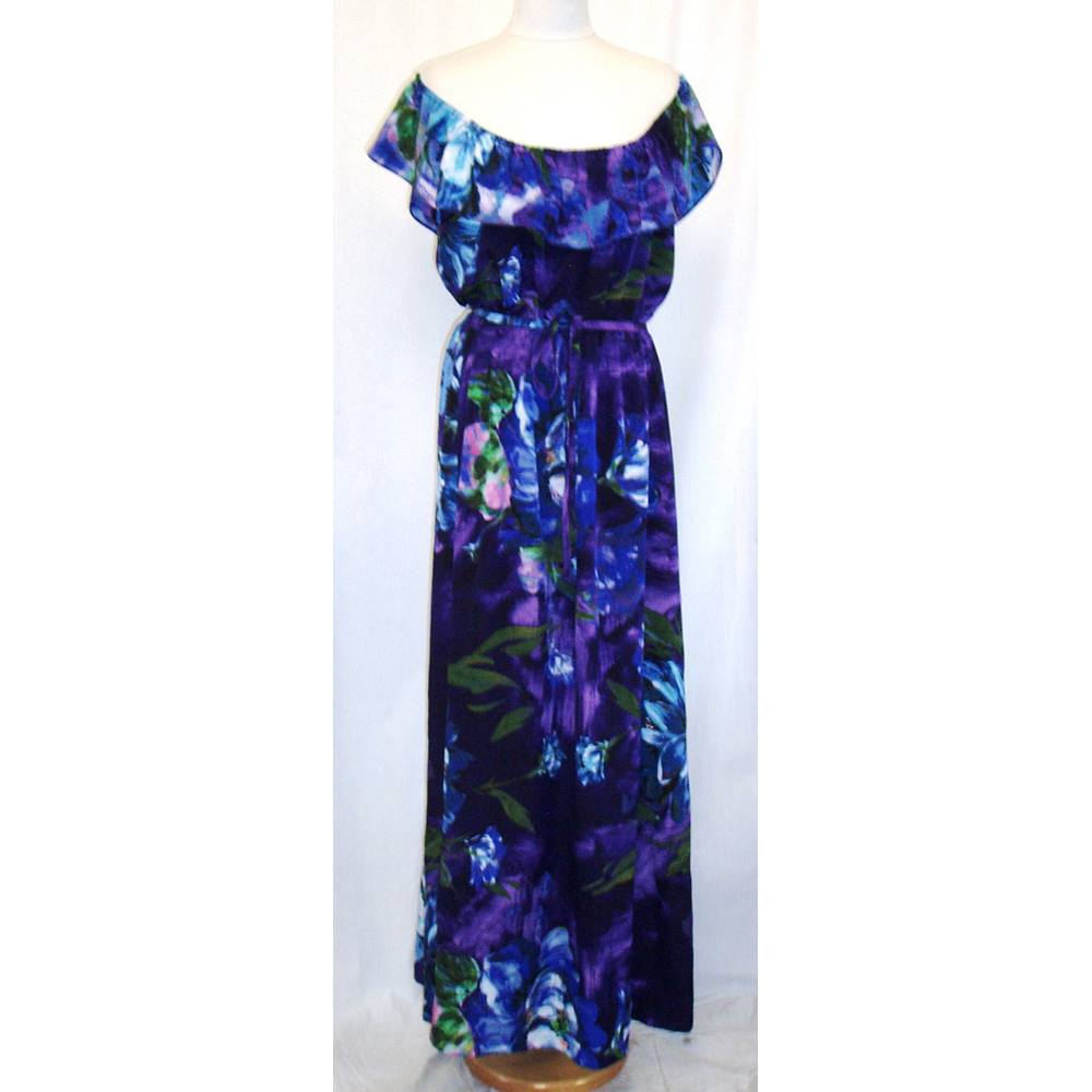 2b934af3db BNWT M   Co Size 22 Purple off the shoulder Maxi dress with blue flower  print. Loading zoom