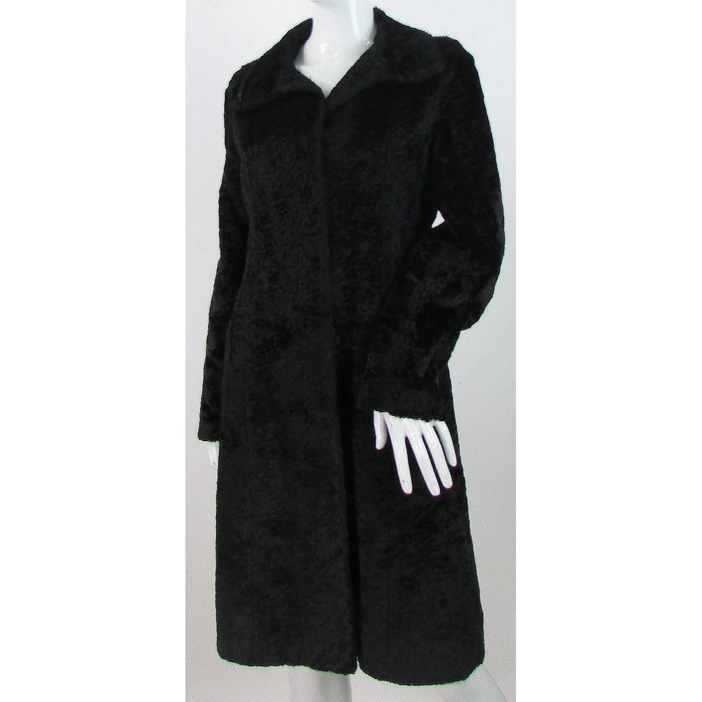 8a1d998b3baac Nuage by Debenhams - Size  8 - Black - Faux Fur Textured Coat ...