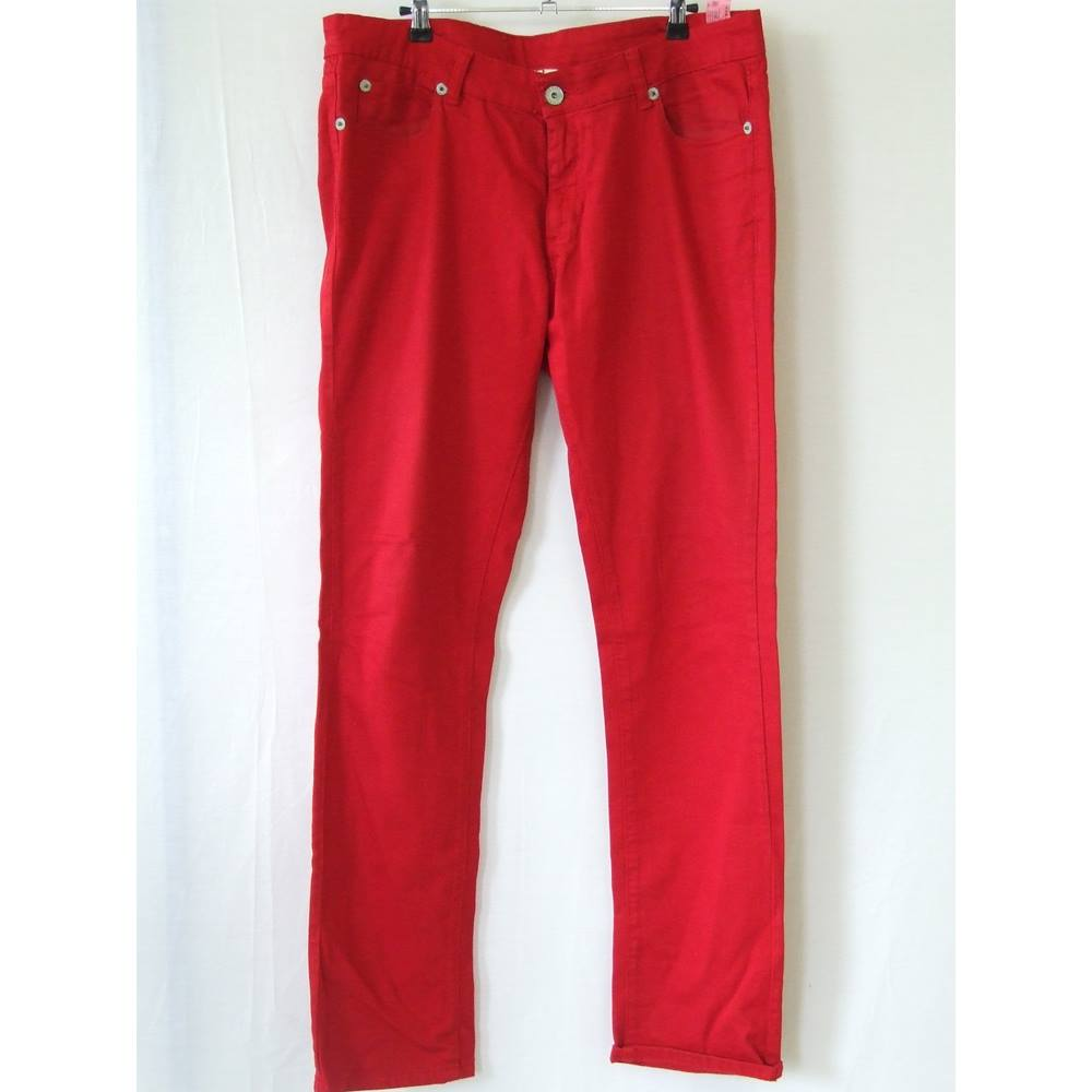 c13dc26b Mens Zara Man Young Division Red Cotton Jeans Waist 36