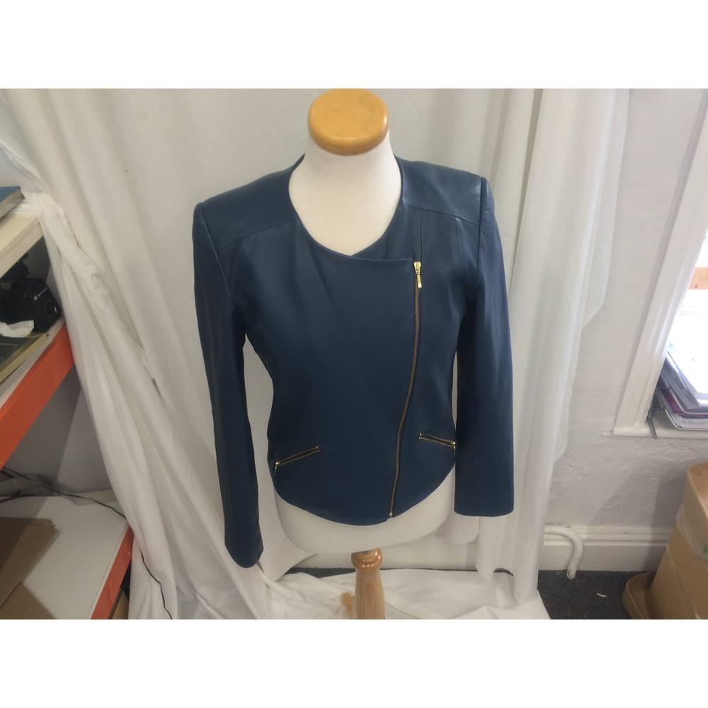 fde7e1989 Baukjen Size 12 Leather Biker Jacket Baukjen - Size: 12 - Blue - Smart  jacket / coat   Oxfam GB   Oxfam's Online Shop