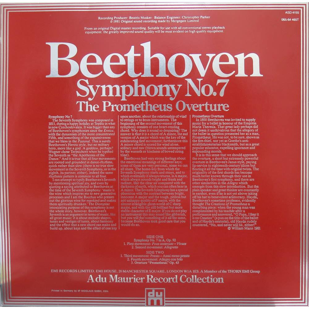 Beethoven Symphony No 7, The Prometheus Overture  The Philharmonia  Orchestra/Kurt Sanderling  HMV ASD 4155 | Oxfam GB | Oxfam's Online Shop