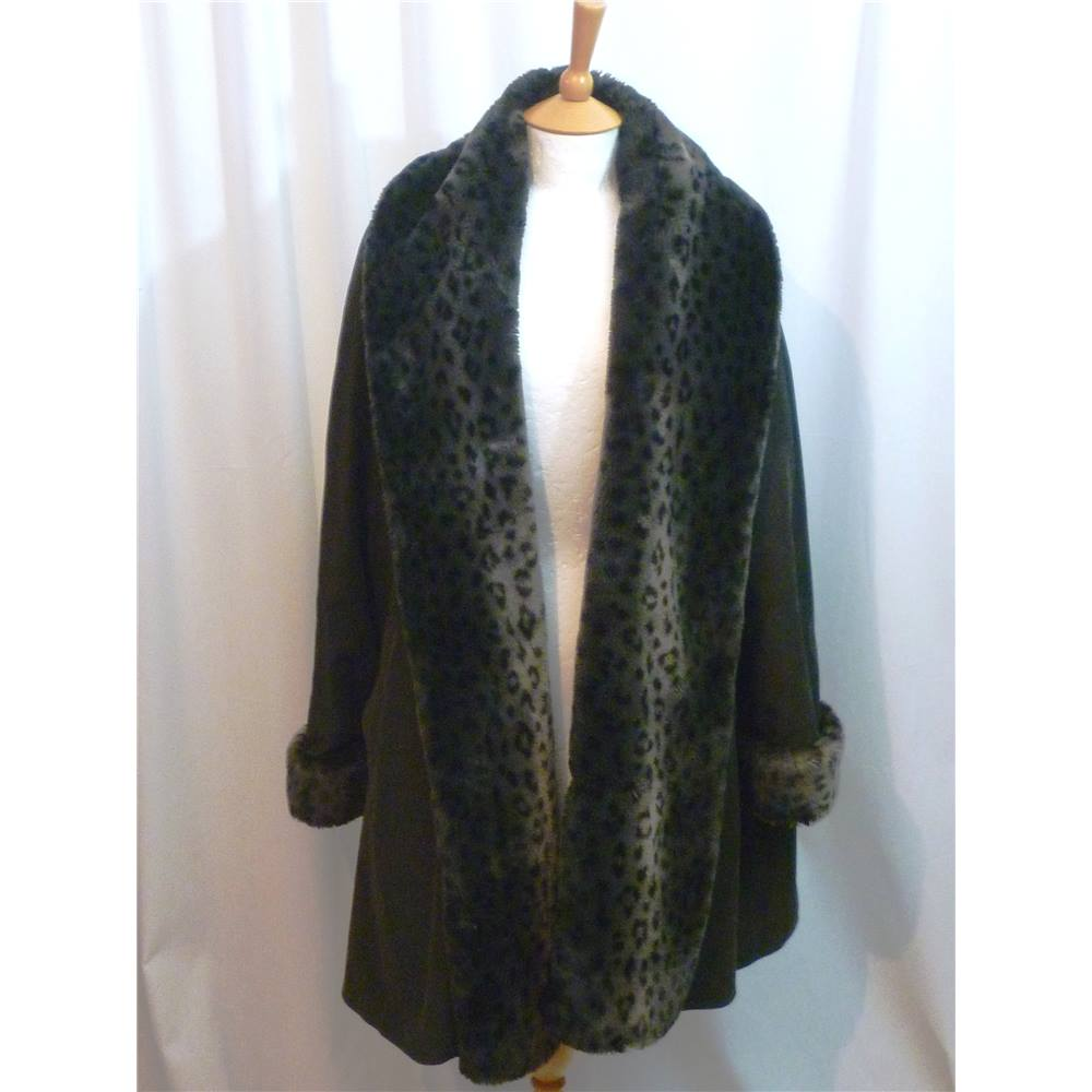 8ad8c161e53e Four Seasons of London Size S black with leopard spotted faux fur trim swing  coat