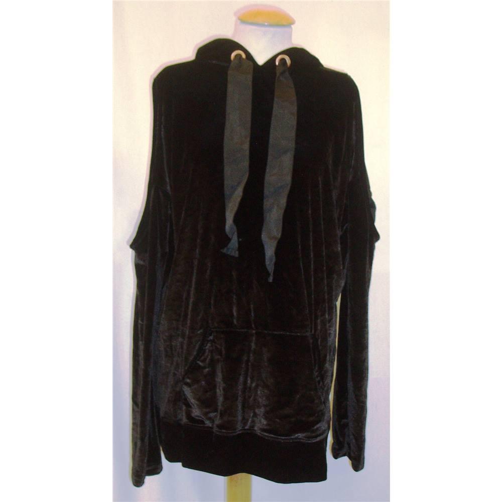 f67ca40d6e5b58 BNWT ASOS Size 6 Black stretch velvet shoulder-less Hoodie