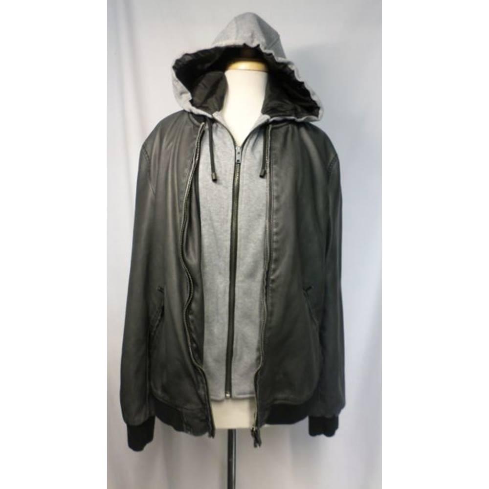 ae15f43e Zara Man Basic - Size: XL - Grey - Faux Leather Jacket   Oxfam GB ...