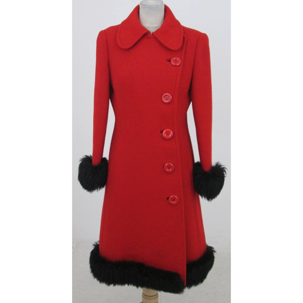 bd204386f3a97 Vintage 70s Harella Size:18 red faux-fur trimmed winter coat | Oxfam GB |  Oxfam's Online Shop