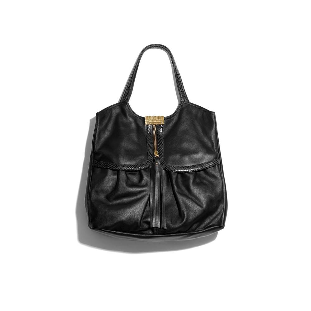 Jimmy Choo For H M Extra Large Black Leather Shoulder Handbag Loading Zoom