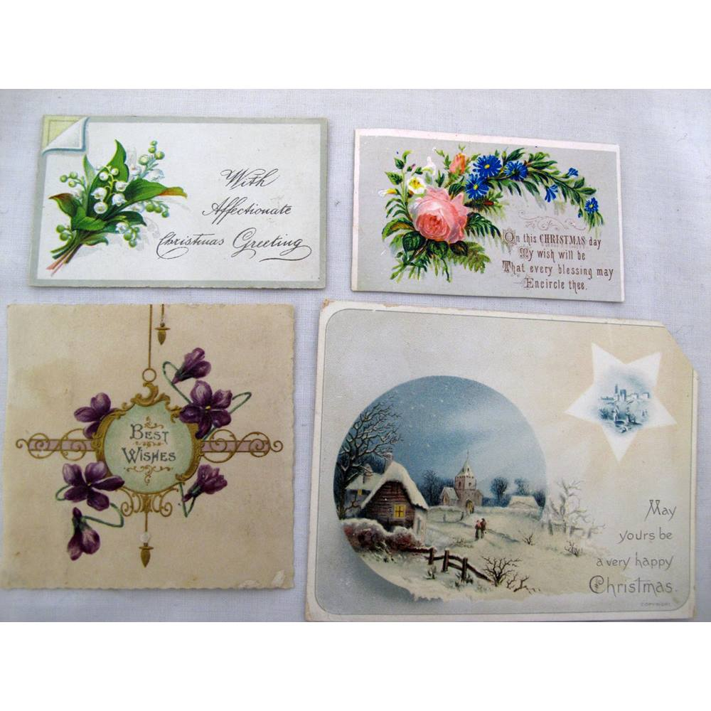 Four Old Christmas Greeting Cards And Scraps Oxfam Gb Oxfams