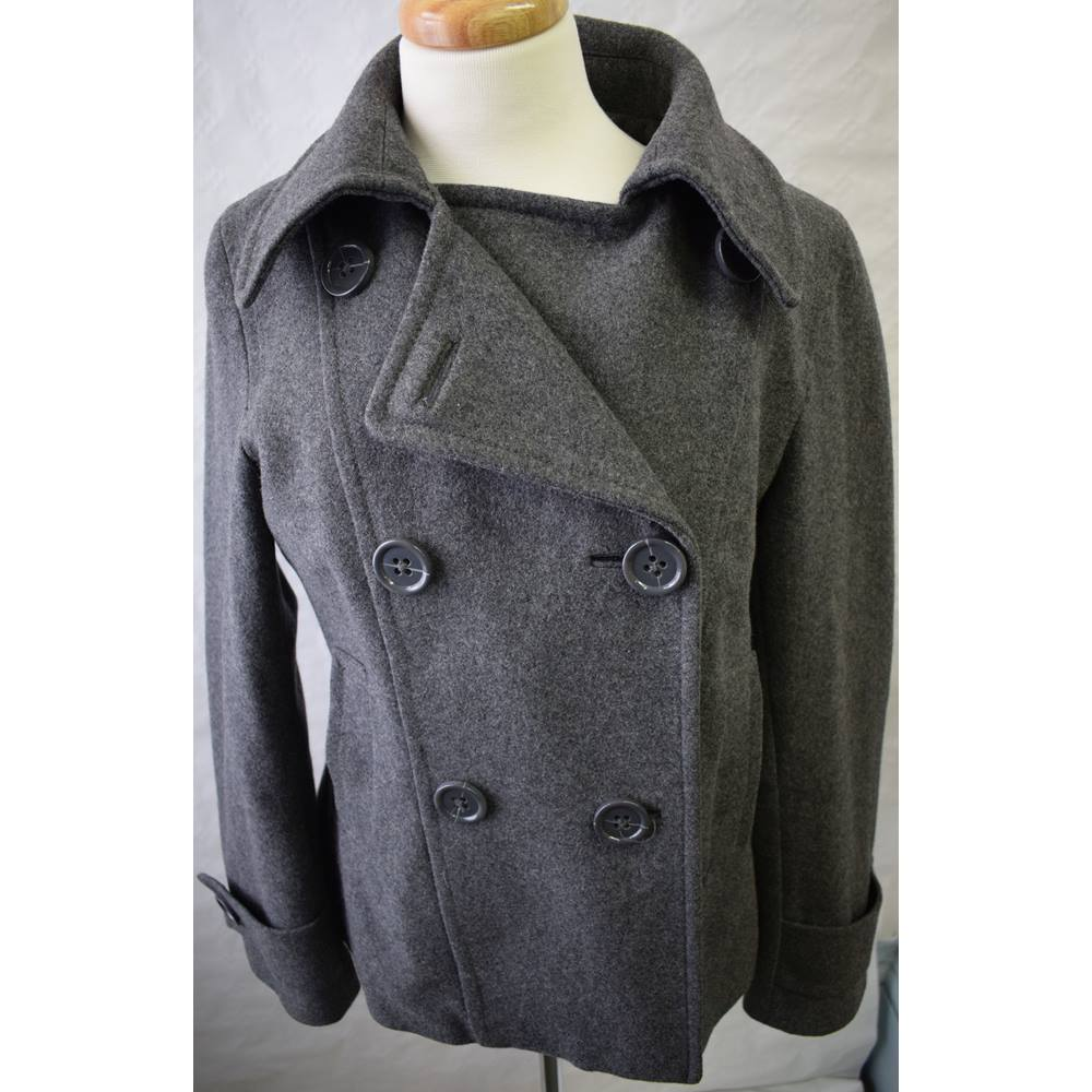 c81d03d56 H and M grey double breasted coat jacket size 14