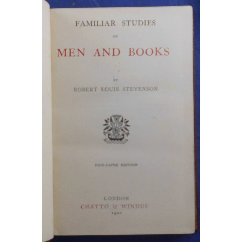 Oxfam Bookshop Carlisle The Essays That Were Later Published As Familiar Studies Of Men And Books 1882 Began To Appear In Cornhill Magazine 1876