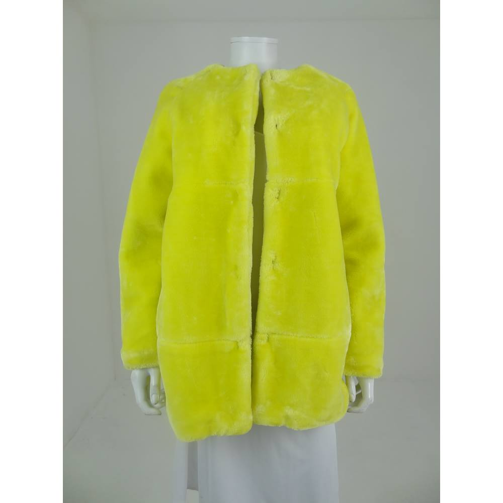 b6474054 Zara Size L Lemon Yellow Faux Fur Coat | Oxfam GB | Oxfam's Online ...