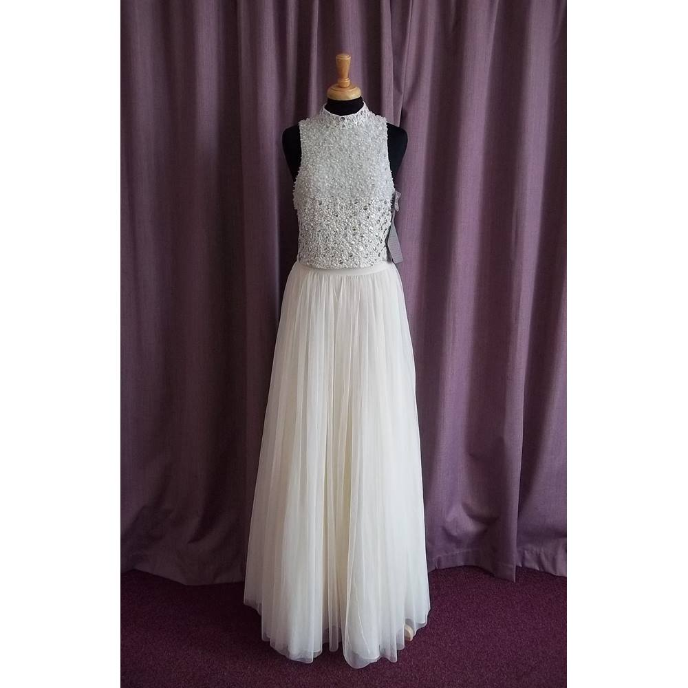 9c998bac96e5 BNWT - Asos Bridal - Size 10 - 2-piece cream with silver sequined top ...