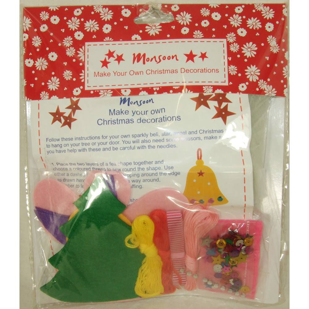 BNWT Monsoon Make Your Own Christmas Decorations Kit Red