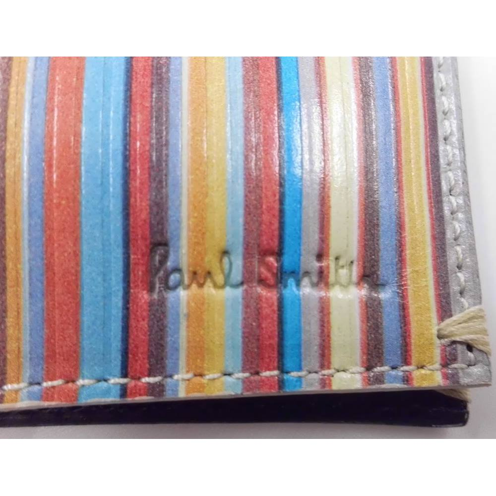 Paul Smith Signature Multi Stripe Leather Phone Pouch Business Card Holder Bnwt Herren-accessoires