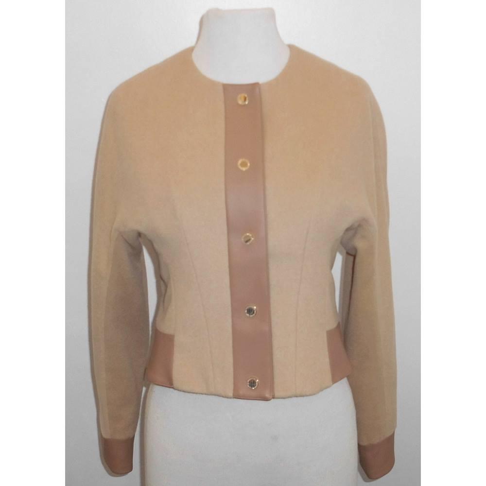 d09c8f64fc Oxfam Shop Brigg A MORGAN DE TOI camel colour petite jacket in a wool mix  with gold colour stud fasteners. Size