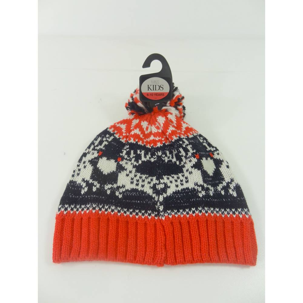 725c3c2ff01 M S Kids Size  3 - 6 Years Reindeer Sparkle Bobble Hat. Loading zoom