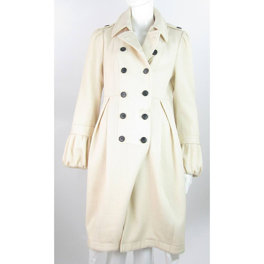 Jesire - Size  8 - Cream - Wool Double Breasted Smart Coat  26acb791b