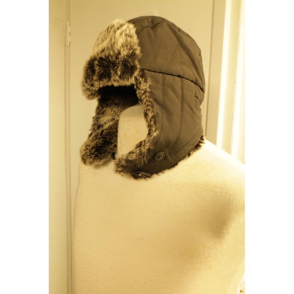 52eaf8fb5fd43 Men s Brown Woolrich Trapper Hat with Fur Trim Woolrich - Size  Medium.  Loading zoom