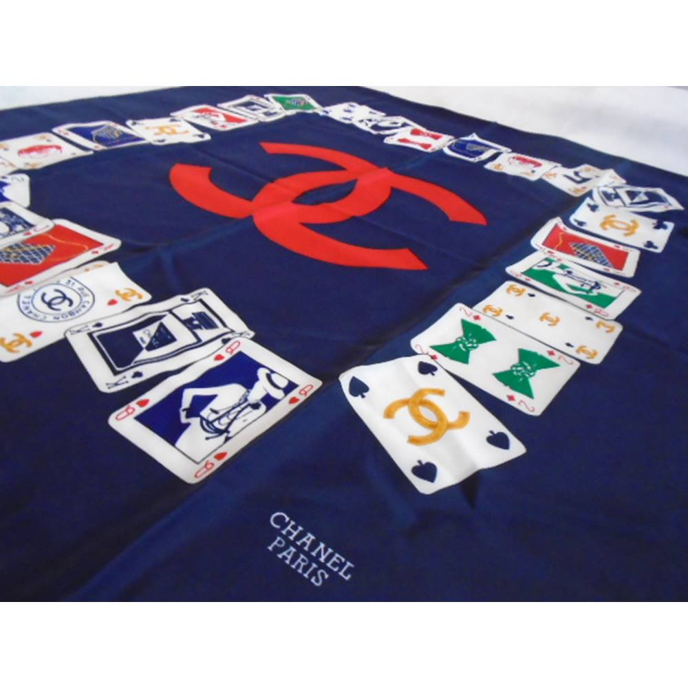 CHANEL Paris Scarf 100% SILK Royal Blue Playing Cards Pattern Women Chanel  - Size  Loading zoom 9b2638888