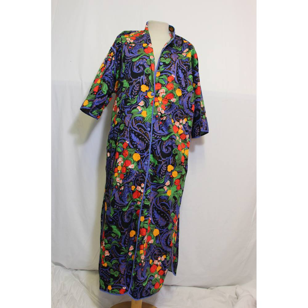 Vintage St Michael floral cotton housecoat 10-12 M&S Marks & Spencer ...
